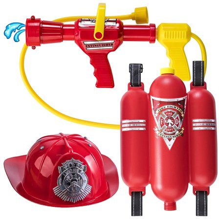 Prextex Fireman Backpack Water Gun Blaster with Fire Hat- Water Gun Beach Toy and Outdoor Sports Toy - Fireman Hat