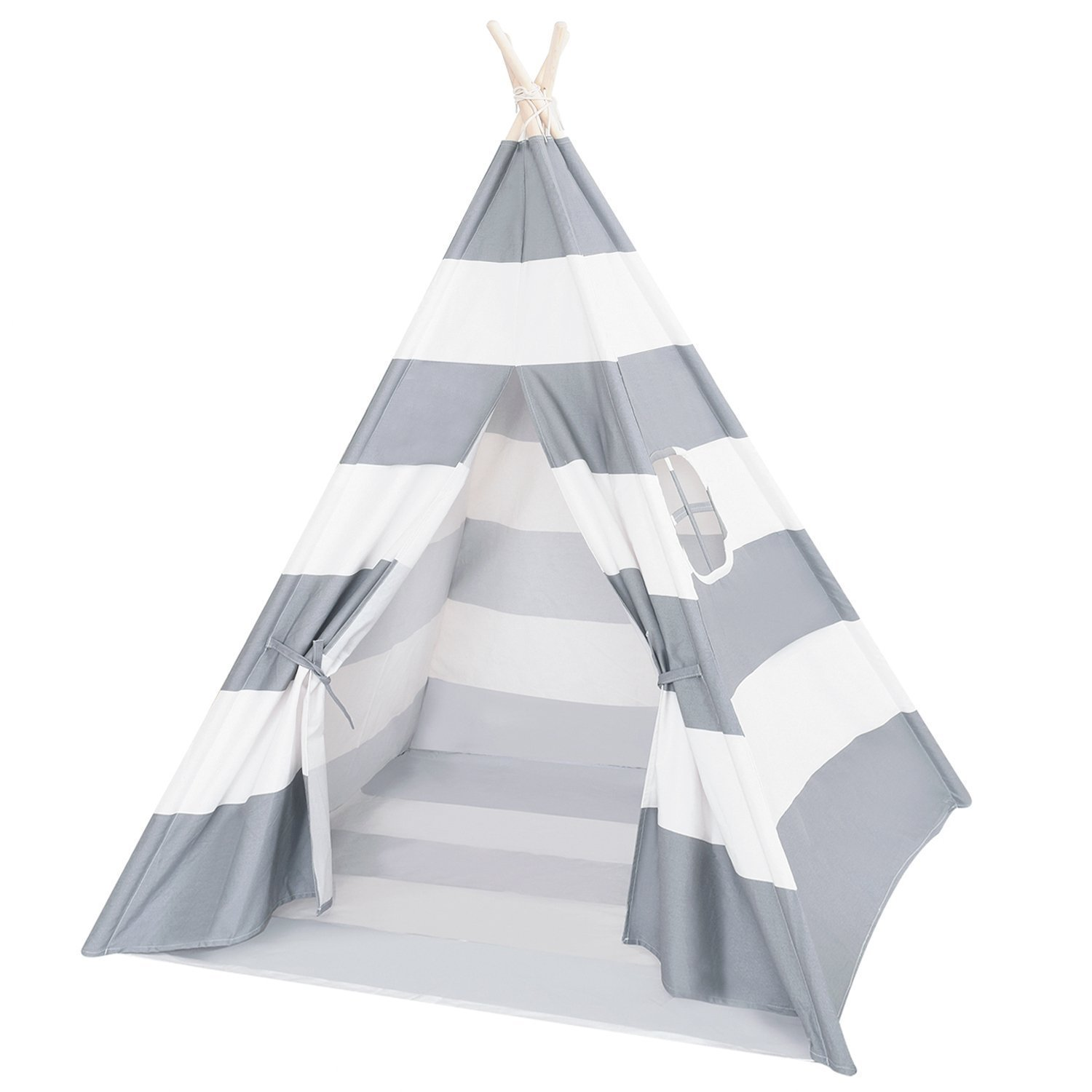 DalosDream Teepee Tent For Kids-100% Natural Cotton Canvas Children Tent-Grey Striped by