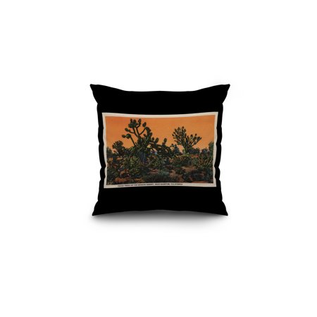 View of Yucca Trees in the Mohave Desert 16x16 Spun Polyester Pillow B