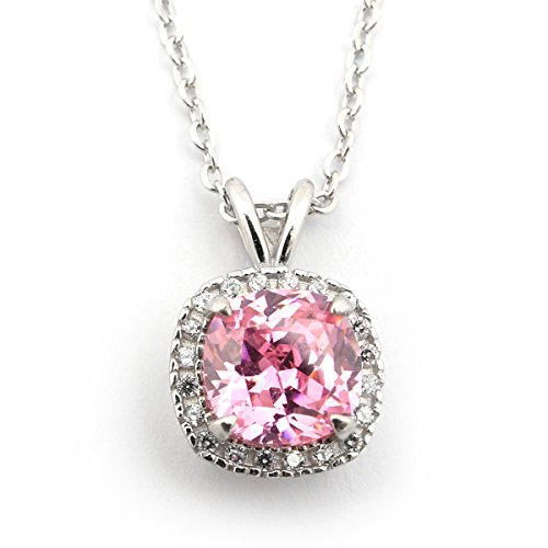 Sterling Silver October Birthstone Simulated Pink Tourmaline CZ Large Cushion Cut Square Halo Pendant Necklace - 16""