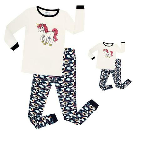 Elowel Unicorn Matching Girls & Doll 2 Piece s Pajamas Set 100% Cotton (Size