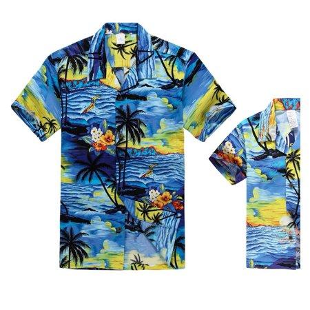 Matching Father Son Hawaiian Luau Outfit Men Shirt Boy Shirt Blue Sunset S-14](Luau Menu)