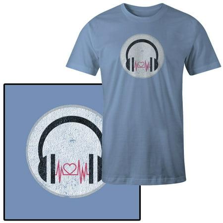 Men's Vector Illustration of Black Headphones with Pink Heart T-Shirt