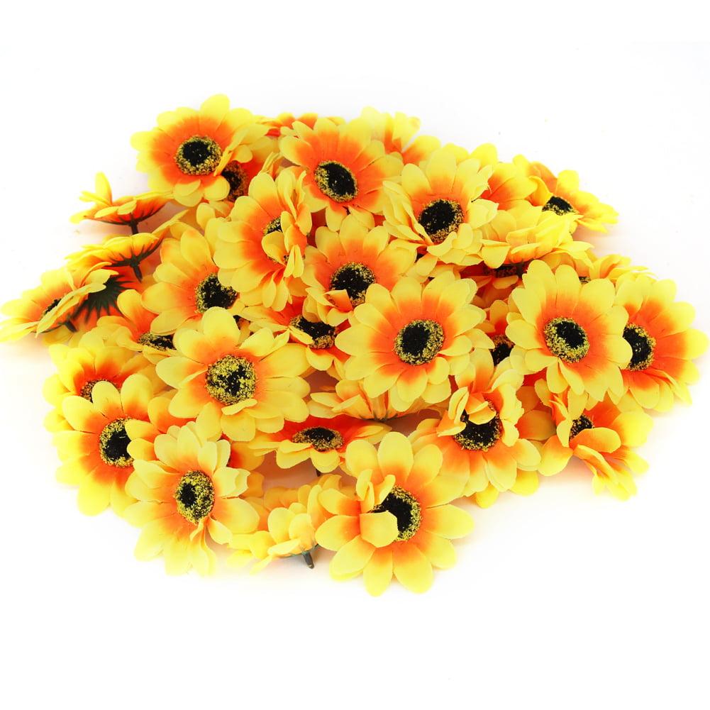 1 Artificial Sunflower Silk Flowers Big Yellow Sunflower 6 Floral Hair Accessories Flower Supplies Faux Fake Autumn Flowers