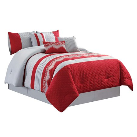 Wpm Embroidered 7 Piece Bedding Set Silver Grey Red Comforter With