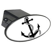 """Anchor Boat Black On White 2"""" Oval Tow Trailer Hitch Cover Plug Insert"""