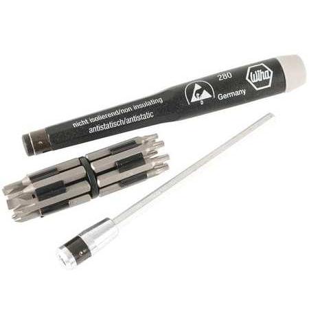 Starrett Steel Screwdriver - Wiha Tools Precision Multi-Bit Screwdriver, CRM-72 Tool Steel, 75093