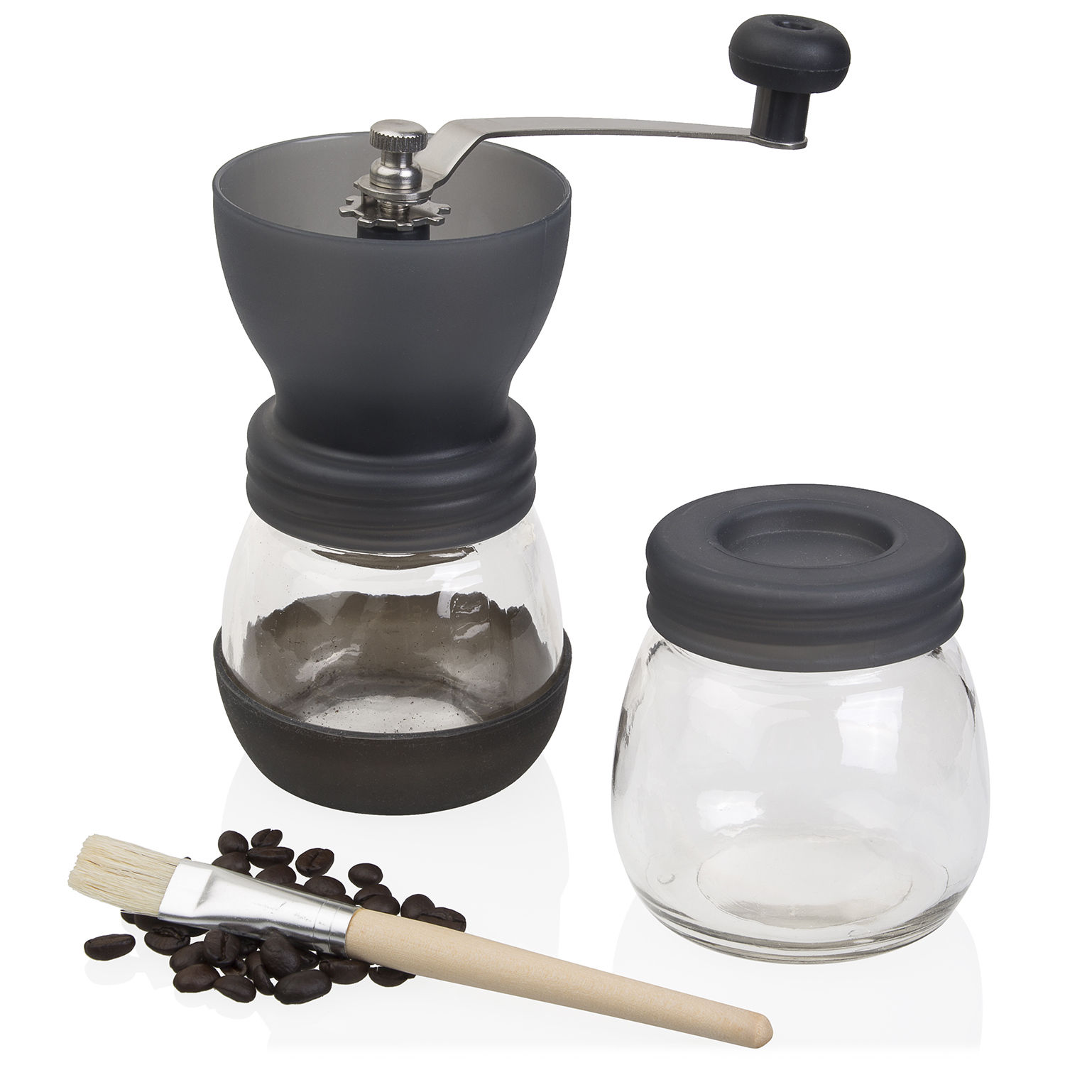Jumbl Ceramic Coffee Hand Crank Manual Grinder - Adjustable to Different Grind Sizes Includes Brush -Colors May Vary