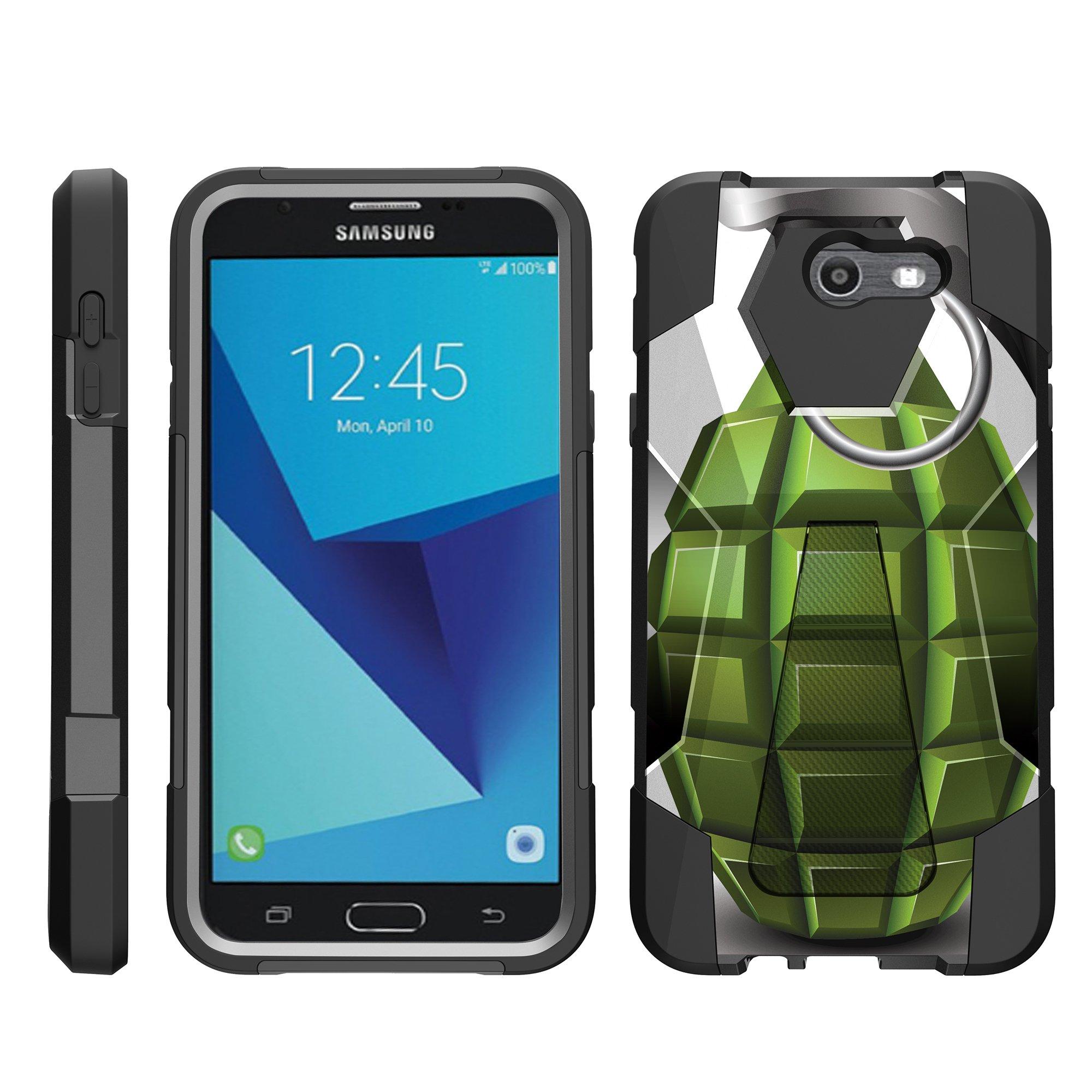 TurtleArmor ® | For Samsung Galaxy J7 | J7 V | J7 Perx | J7 Sky Pro | J7 Prime | Halo [Dynamic Shell] Dual Layer Hybrid Silicone Hard Shell Kickstand Case - Black