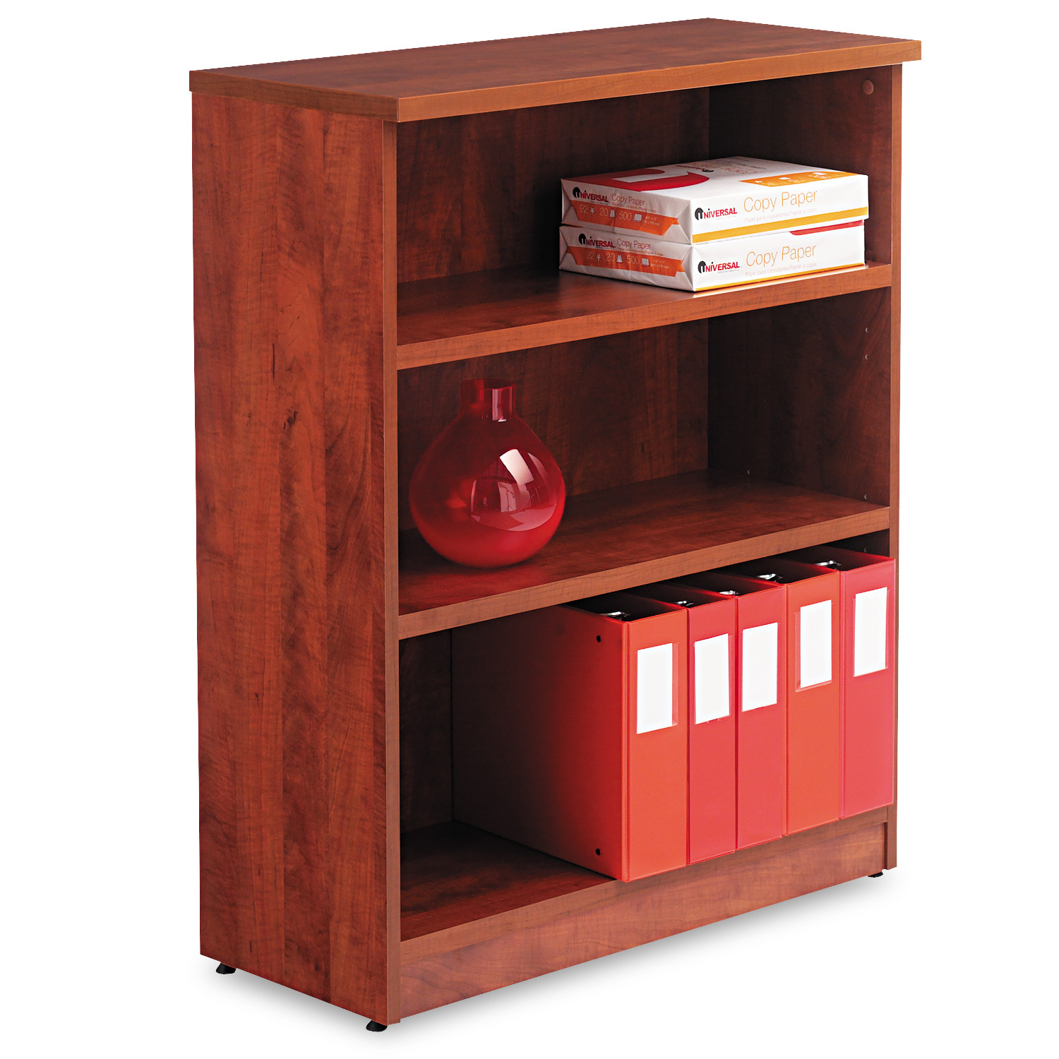 Alera Alera Valencia Series Bookcase, Three-Shelf, 31 3 4w x 14d x 39 3 8h, Med Cherry by ALERA