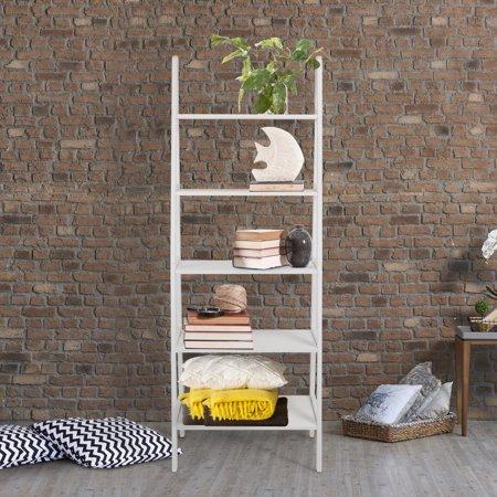 - 5-Shelf Ladder Bookcase-White