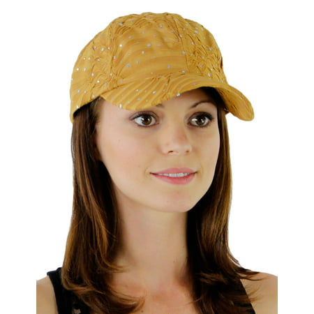 Greatlookz Glitzy Game Flower Sequin Trim Baseball Cap for Ladies in Many Colors - Yellow Newsboy Cap