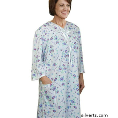 2032eaaf3bb8b Silverts 260000204 Womens Soft Cotton Knit Adaptive Pattern Hospital Gown - Open  Back - Back Snap Night Gowns - Extra Large, Mauve Flower - Walmart.com