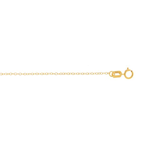 14K Yellow Solid Gold Shiny 1.2mm wide Cable Chain 16 Necklace Spring Ring Clasp