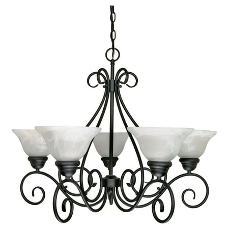 Nuvo Lighting 60380 - 5 Light (Medium Screw Base) Castillo Textured Flat Black with Alabaster Glass Chandelier Light Fixture (60-380)