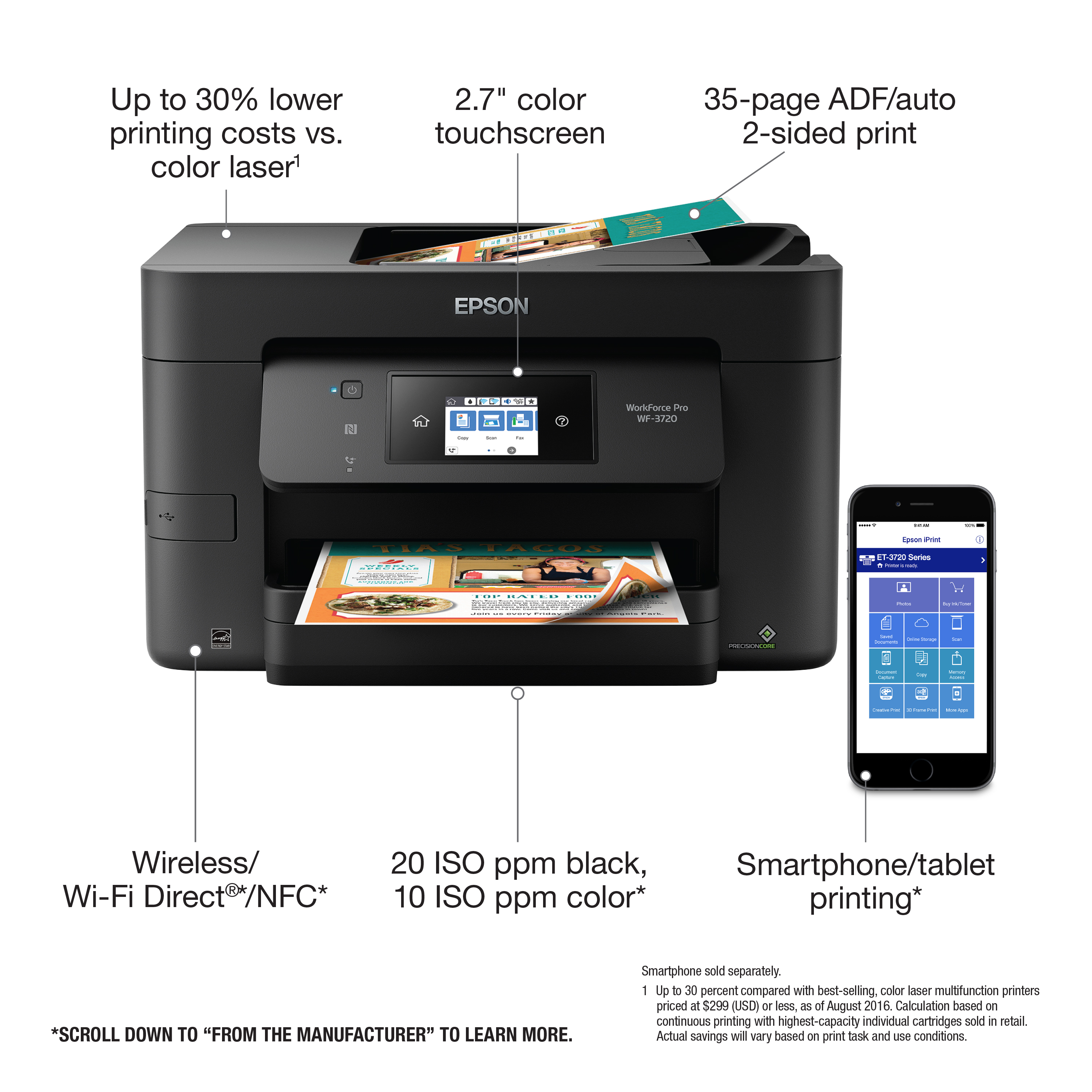 Epson Workforce Pro Wf 3720 Wireless All In One Color Inkjet Printer