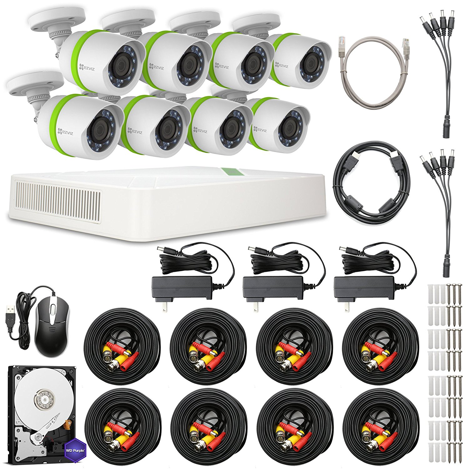 EZVIZ 720p Outdoor Security Camera System, 8 HD Weatherproof Cameras, 16 Channels with 2TB DVR