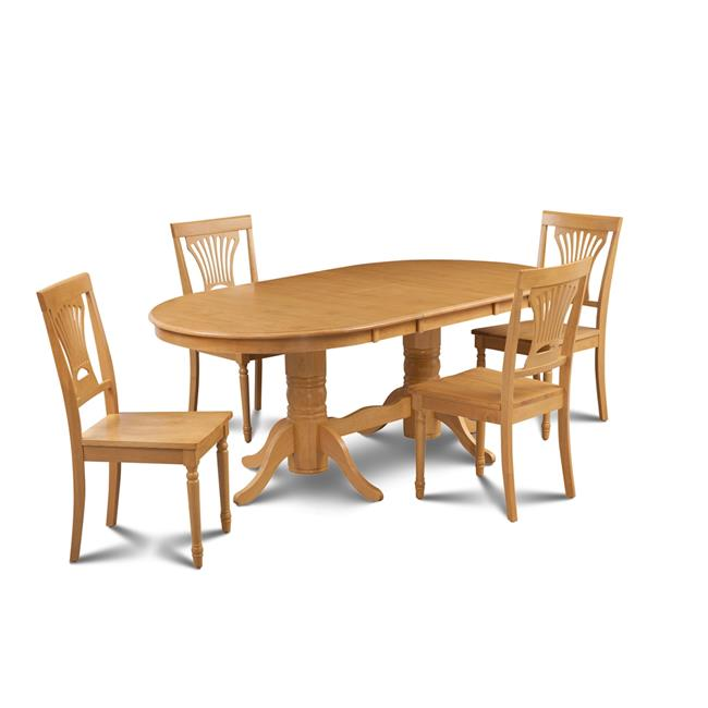 M&D Furniture SOME5-OAK-W 5 Piece dining room set table with a butterfly leaf and 4 dining chairs in Oak finish