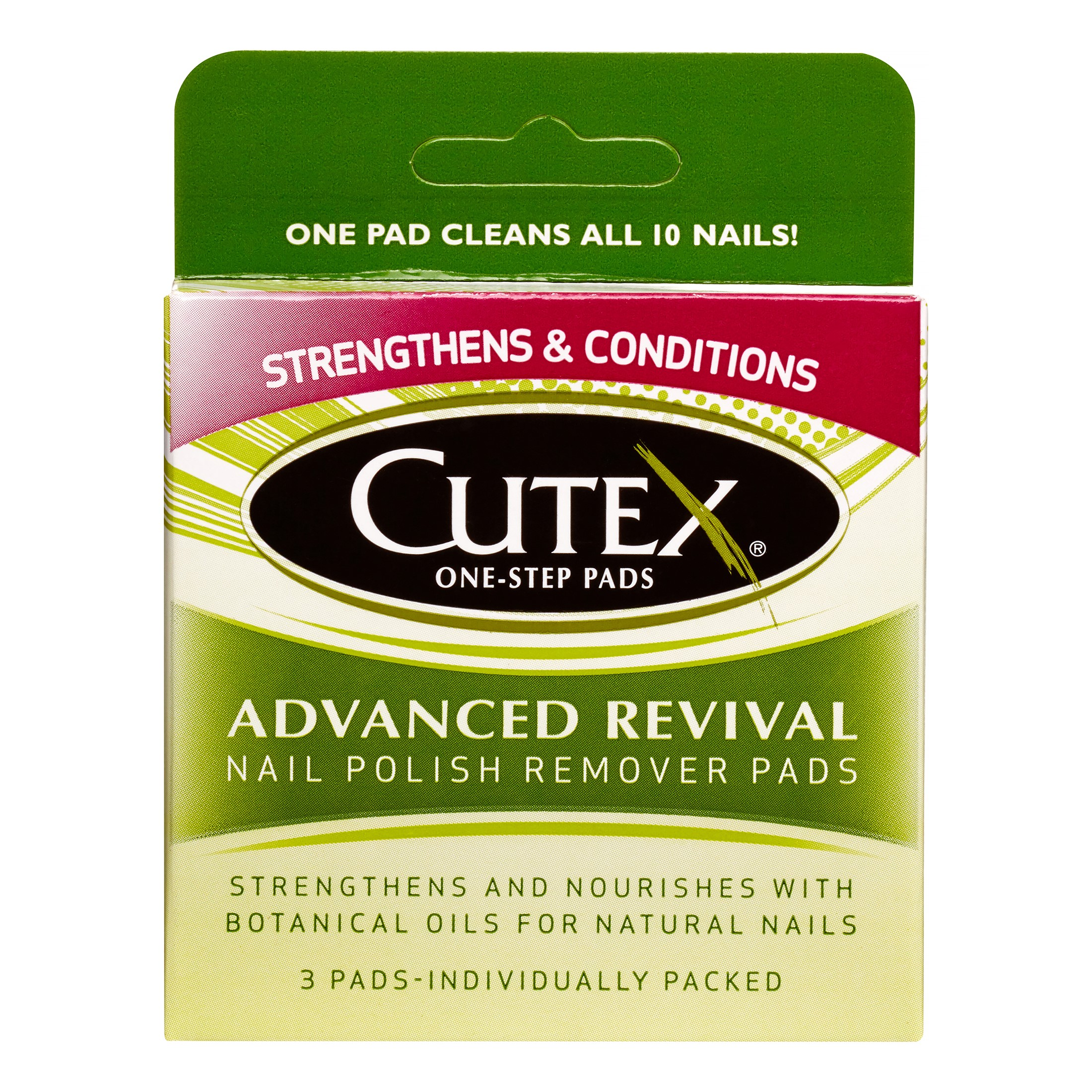 Cutex One Step Pads Nail Polish Remover Pads, Advanced Revival, 3 Ct
