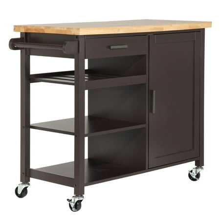 kitchen storage island cart homegear utility kitchen storage cart island with rubberwood cutting block brown walmart com 2892