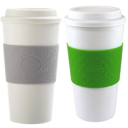 Copco Plastic Mug (Copco Acadia Travel Friendly Mug With Textured Non Slip Sleeve - Double Wall Insulation BPA Free Plastic 16 Oz Pack Of 2, Damask Gray Kiwi Green)