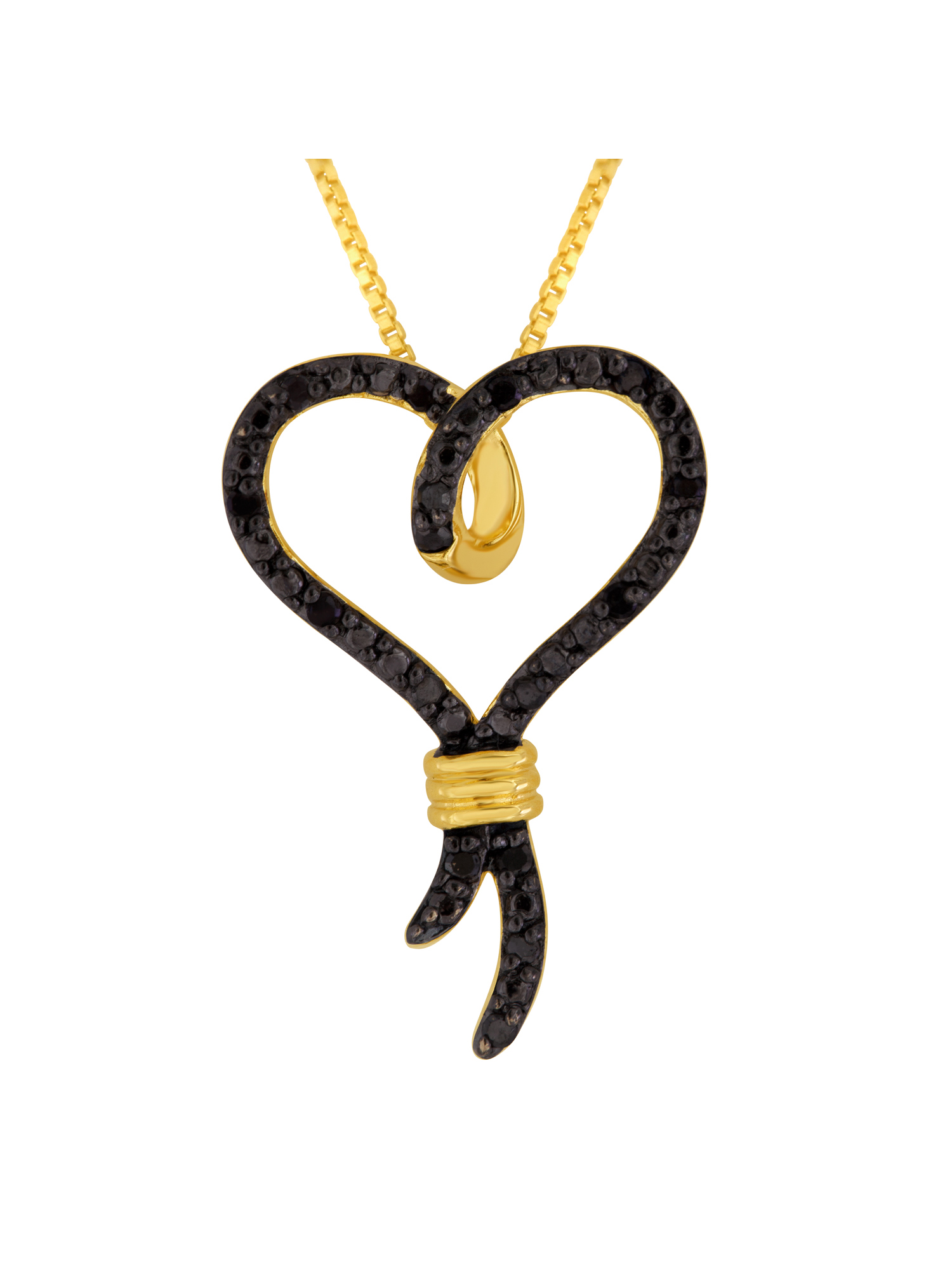 """Knots of Love 14kt Yellow Gold over Sterling Silver 1/10 Carat T.W. Black Diamond Heart Pendant, 18"""""""