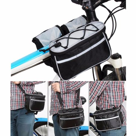 5 Multi-pocket Bicycle Cycling Front Basket Frame Tube Handlebar Bag with Reflective Stripe Mesh Pockets, Bike Pouch for Mountain, Road, MTB, Folding