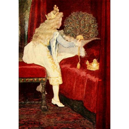 Fan Art - The Princess & the Curdie 1908 Fan of peacock feathers Canvas Art - Maria Kirk (18 x 24)