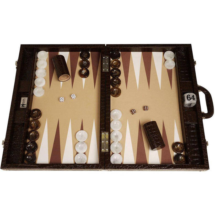 Wycliffe Brothers Tournament Backgammon Set, Brown Croco with Beige Field, Gen III by