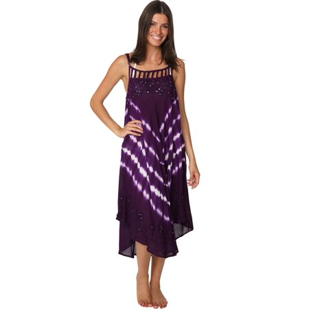 Ingear Tie Dye Sequin Handkerchief Hem Dress Beachwear Casual Cover Up (Handkerchief Dresses Sale)