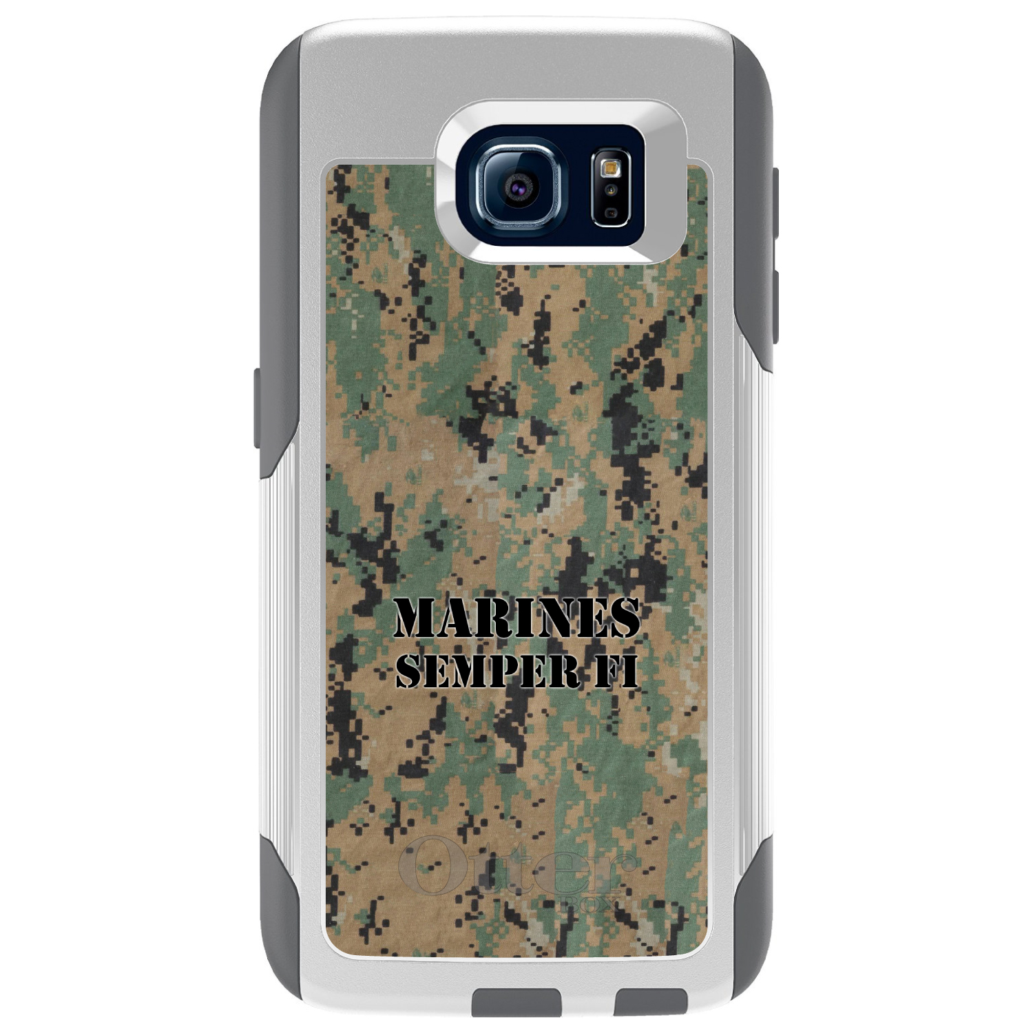 DistinctInk™ Custom White OtterBox Commuter Series Case for Samsung Galaxy S6 - Camo Marines Semper Fi
