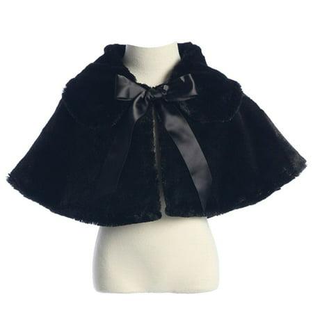 Sweet Kids Little Girls Black Fluffy Faux Ribbon Closure Cape 2T-6](Fluffy Girls)