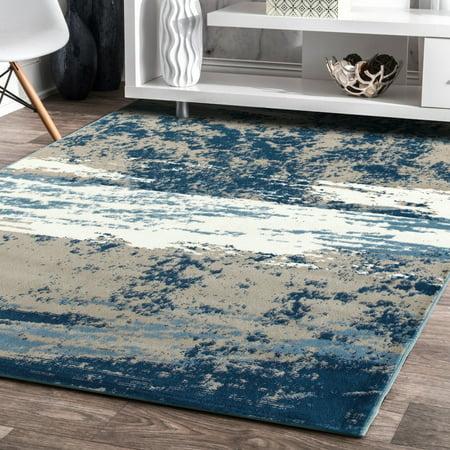 - LR Home Matrix Blue Skies Light Beige / Soft Blue Indoor Area Rug ( 7'9