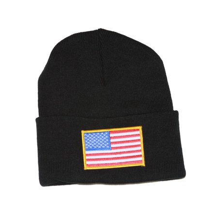Manchester United Beanie (Delux Military 3D Patch Embroidery Black Beanie United States Patriotic Flag )