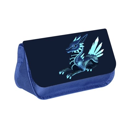 - Dragon - Blue Medium Sized Makeup Bag with 2 Zippered Pockets and Velcro Closure