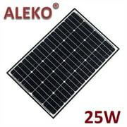 ALEKO Solar Panel Monocrystalline 25W for any DC 12V Application (gate opener, portable charging system, etc.)