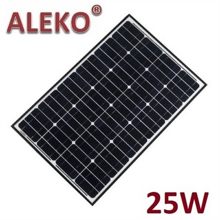 ALEKO Solar Panel Monocrystalline 25W for any DC 12V Application (gate opener, portable charging system, etc.)
