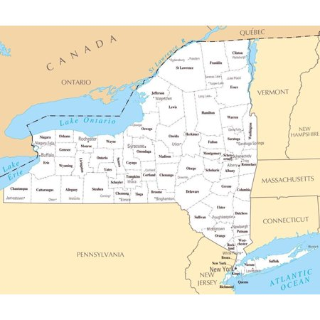 Laminated Poster New York State County Map City Poster Print 24 x 36 ()