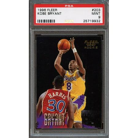 1996 97 Fleer  203 Kobe Bryant Los Angeles Lakers Rookie Card Psa 9
