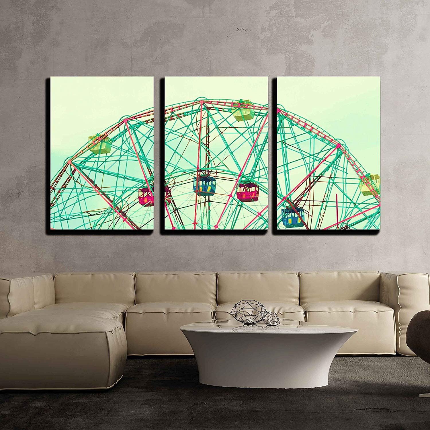 """wall26 - 3 Piece Canvas Wall Art - Ferris Wheel - Modern Home Decor Stretched and Framed Ready to Hang - 24""""x36""""x3 Panels"""