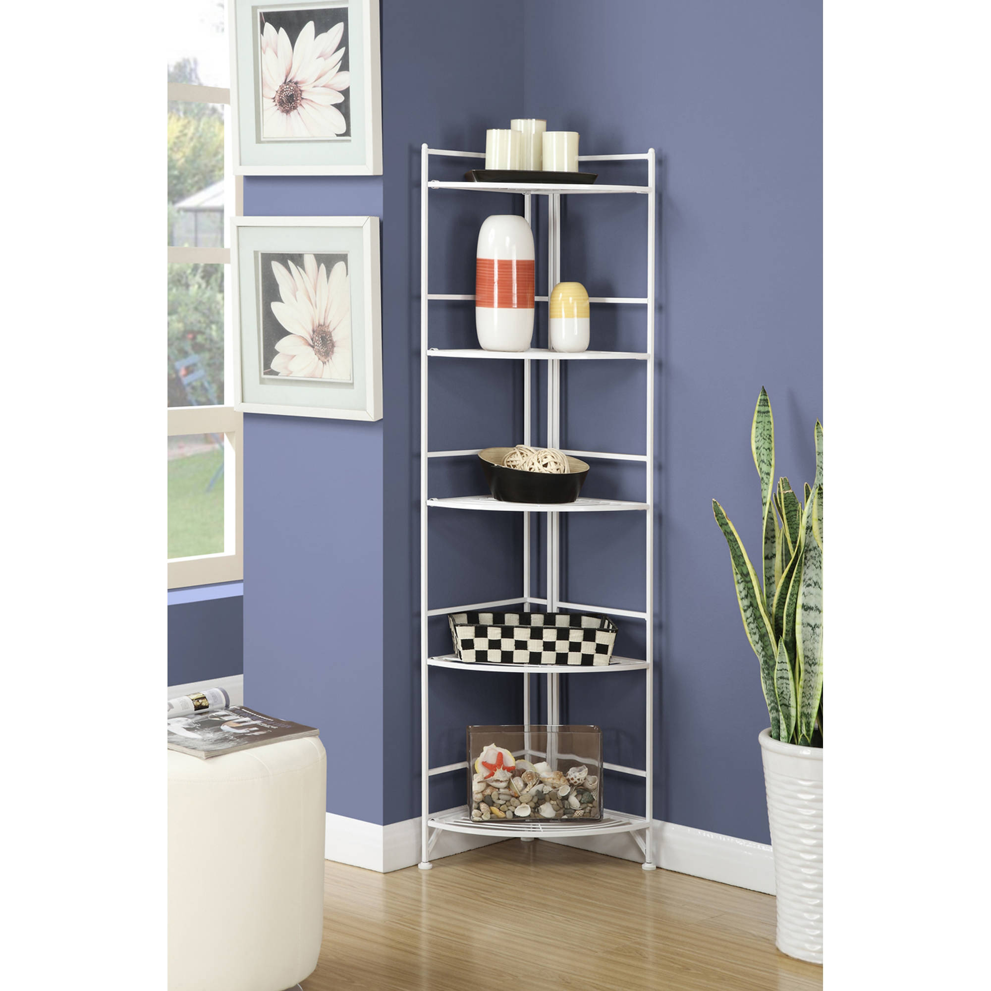 Designs2Go 5 Tier Folding Metal Corner Shelf