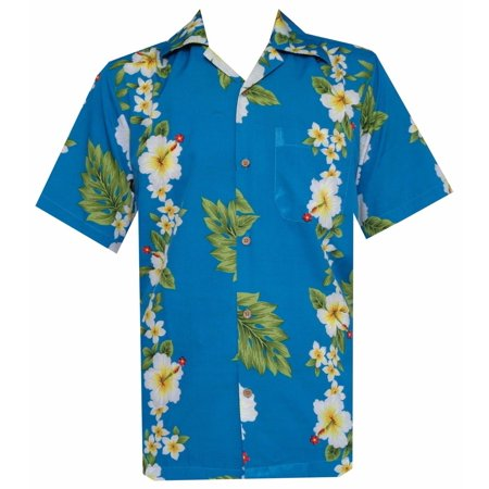 Hawaiian Shirt 10 Mens Hibiscus Floral Beach Camp Party Aloha Turquoise 2XL