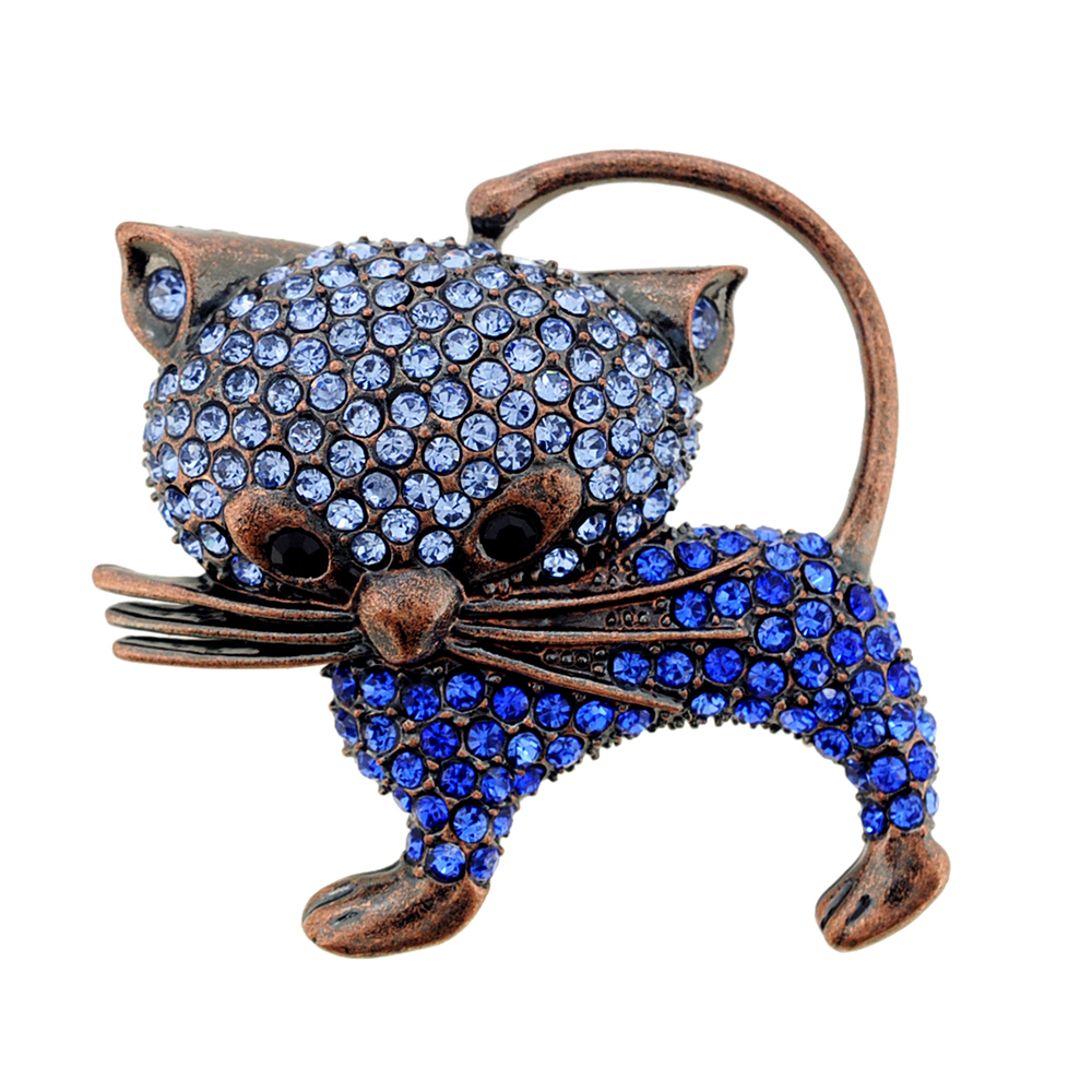 Vintage Style Blue Cat Kitty Sapphire Crystal Pin Brooch by
