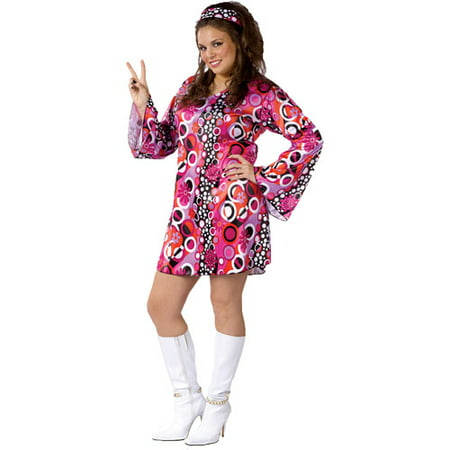 Feelin' Groovy Adult Plus Halloween Costume, Size: 16W-20W - One - Plus Size Pin Up Costume