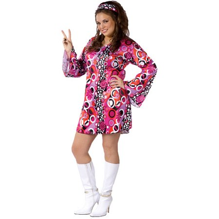 Feelin' Groovy Adult Plus Halloween Costume, Size: 16W-20W - One Size (Plus Size Halloween Costumes Size 28-30)