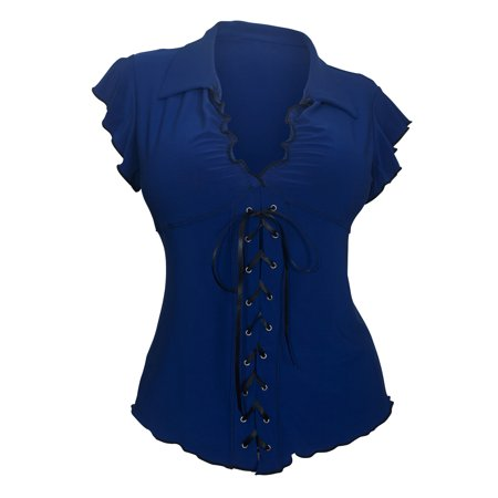 Plus Size Sexy Lace Corset Top Navy