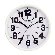 Reizen Low Vision Quartz Wall Clock - White Face, Black No.