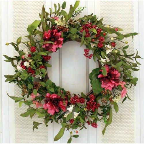 August Grove 19'' Medium Peony Flower Wreath