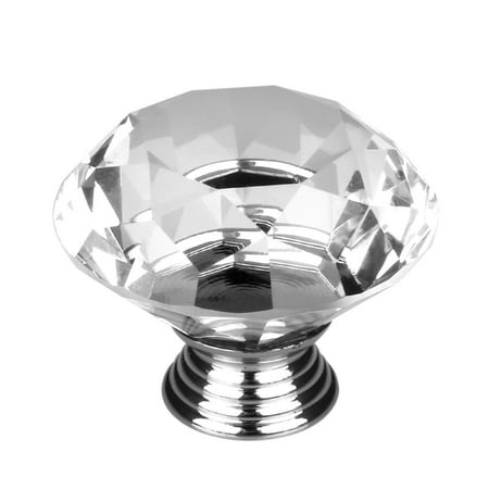 30mm Clear Crystal Glass Diamond Shaped Drawer Knobs Cabinet Handle ()