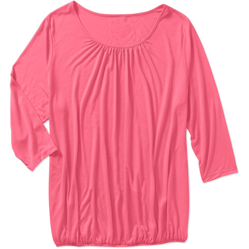 Women S Plus Size 3 4 Sleeve Peasant Knit Top Walmart Com